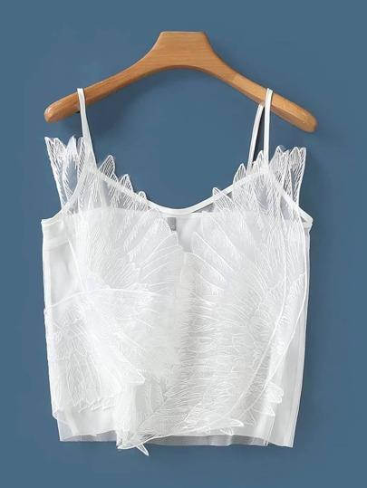 Camisola con bordado de malla con transparencia