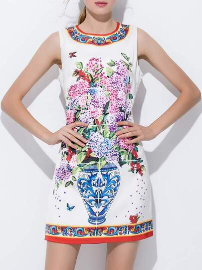 Flowers Print Sheath Dress