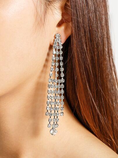 Rhinestone Decorated Tassel Shaped Earrings
