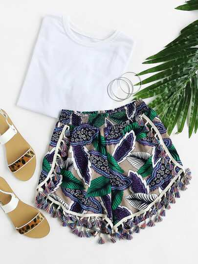 Palm Leaf Tassel Trim Shirred Waist Shorts