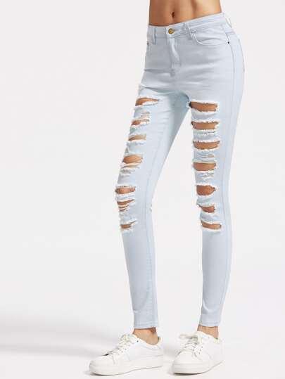 Rotto effetto jeans di lavaggio - Blu
