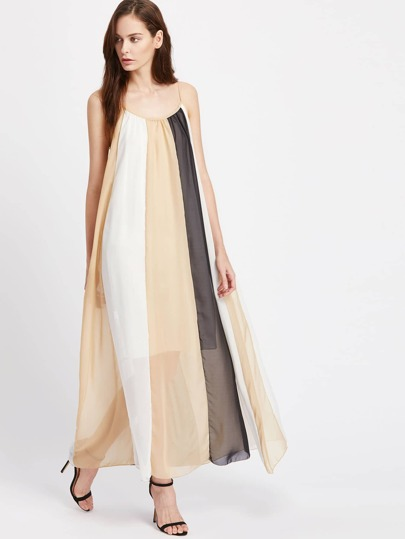 Color Block Slip Maxi Dress