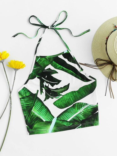 Jungle Leaf Print Self Tie Halter Top