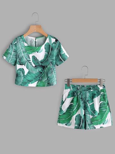 Top con stampa di foglia di palma con pantaloncini