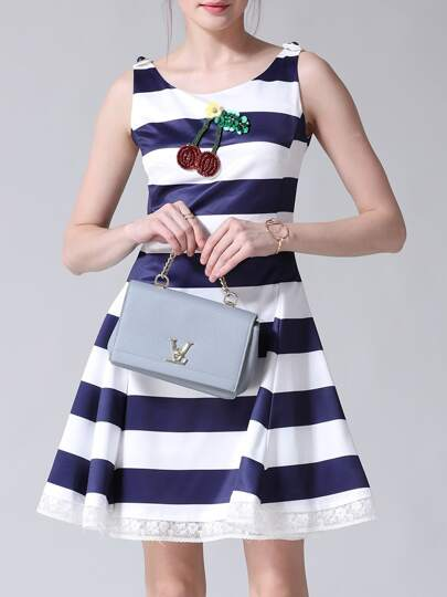 Color Block Striped Cherry Sequined Dress