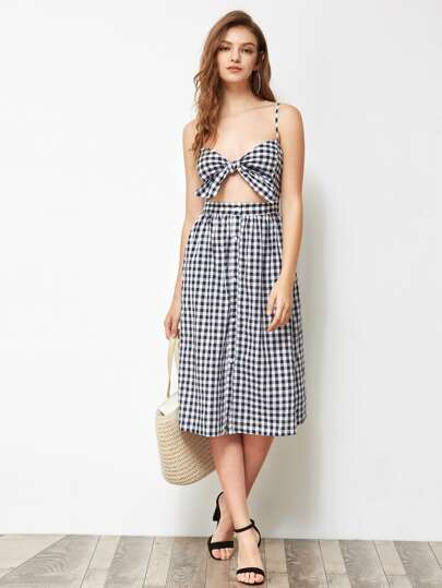 Knot Front Cutout Midriff Smocked Back Gingham Dress