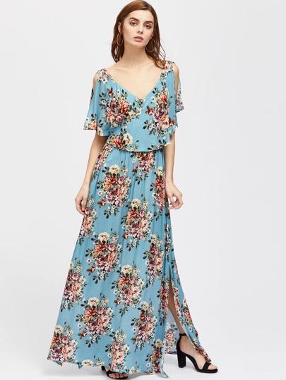 Flower Cluster Print Surplice Wrap Split Cape Dress