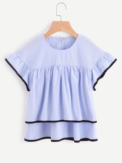 Contrast Trim Layered Button Back Top