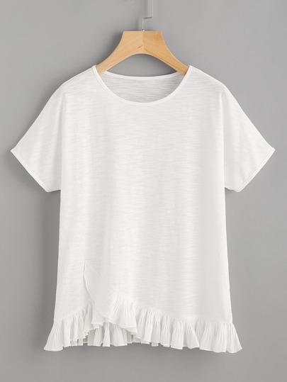 Pleated Ruffle Trim Overlap Slub T-shirt
