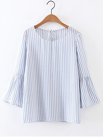 Bell Sleeve Vertical Striped Blouse