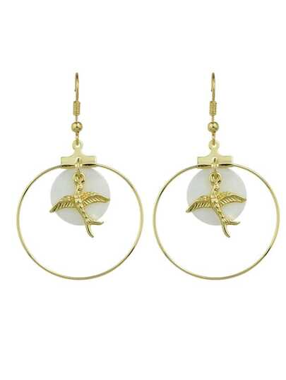 Trendy Gold Color Bird Big Round Earrings