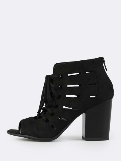 Faux Suede Caged Booties BLACK