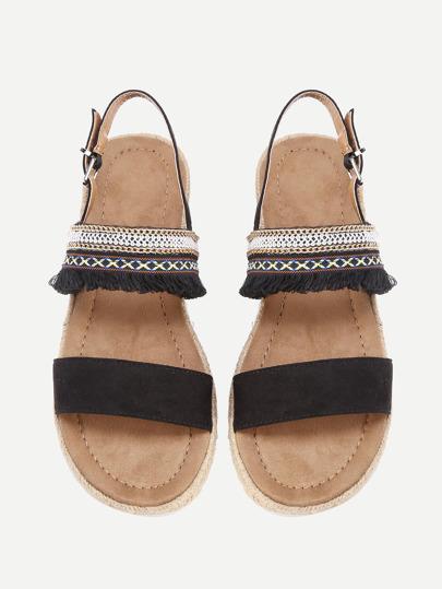 Fringe Detail Flat Sandals