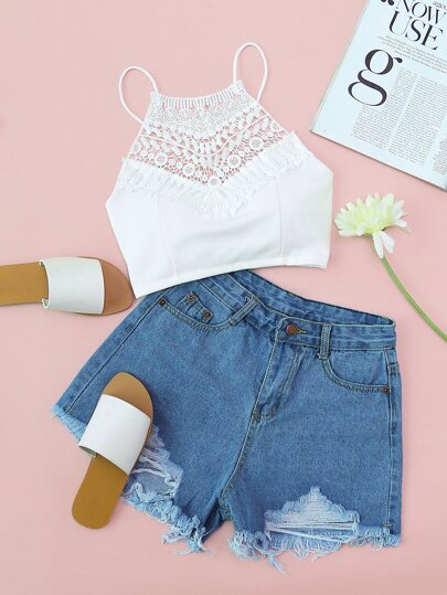 Riss Raw Hem Denim Shorts