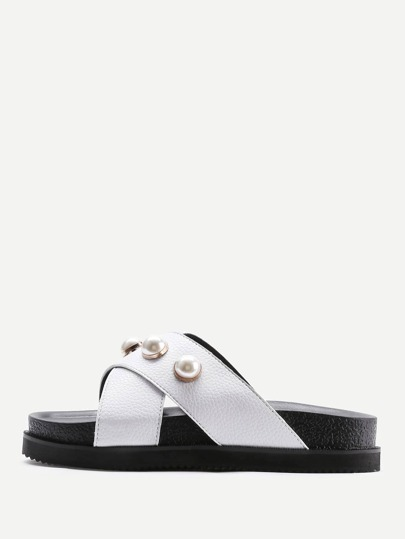 Faux Pearl Detail Criss Cross Flatform Sandals