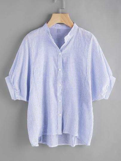 Blusa asimétrica de rayas verticales de mangas farol