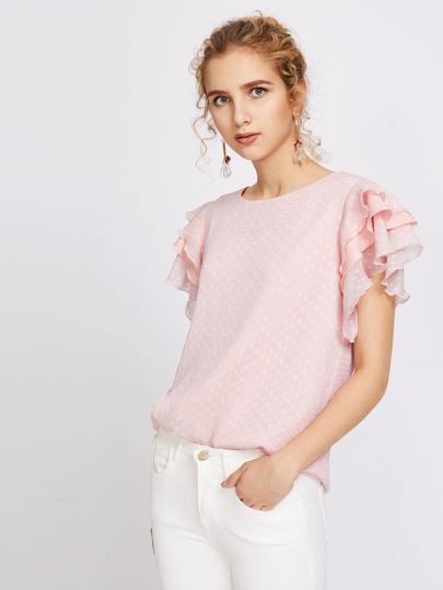 Layered Flutter Sleeve Dot Jacquard Top