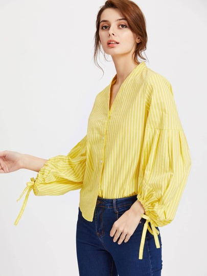 Pinstripe Lantern Sleeve Bow Tie Detailed Blouse