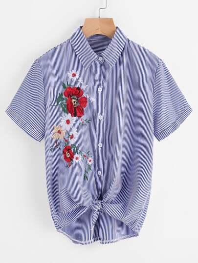 Модная рубашка в полоску с вышивкой