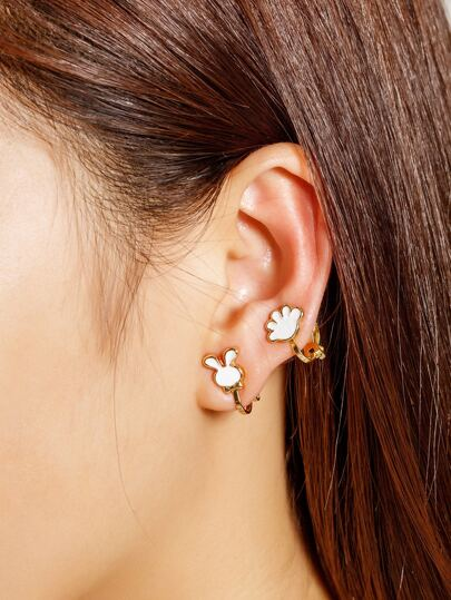 Watermelon & Rabbit Shaped Cute Ear Cuff Set 3pcs