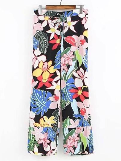 Pantalons jambe large imprimé fleuri avec un lacet