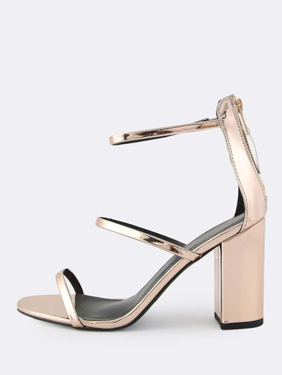 Metallic Triple Band Chunky Heels ROSE GOLD