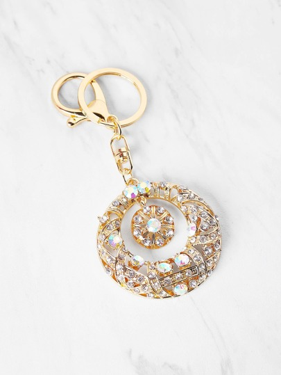 Rhinestone Embellished Hollow Circle Keychain