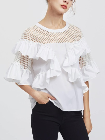 Eyelet Yoke And Sleeve Flounce Trim Top