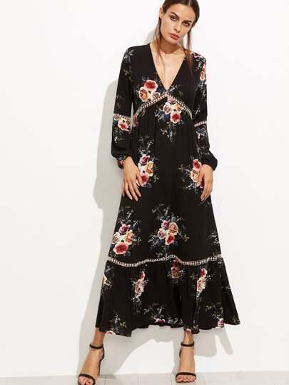 Plunge Florals Dotted Crochet Insert Dress