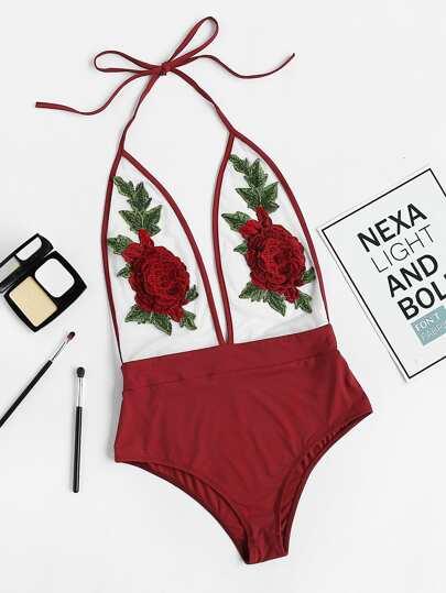3D Rose Applique Backless Plunging Halter Bodysuit