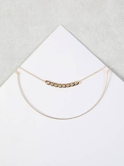 Dainty Chain Link & Curve Chain Necklace Set GOLD