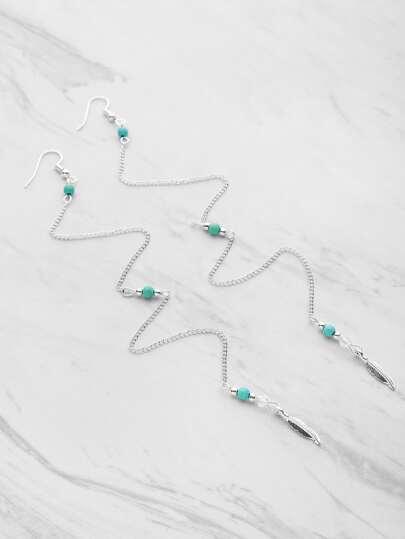 Détail des feuilles Boucles d'oreilles en chaîne avec pierre gemme