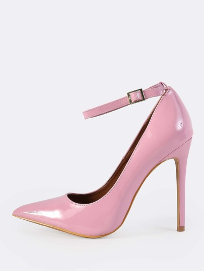 Closed Toe Ankle Strap Pumps PINK