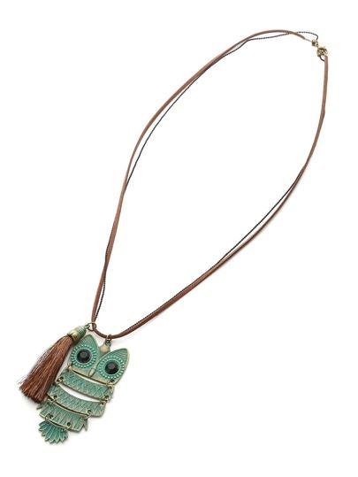 Owl & Tassel Pendant Long Necklace