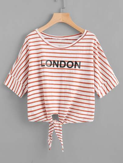 Letter Print Knotted Hem Striped Tee