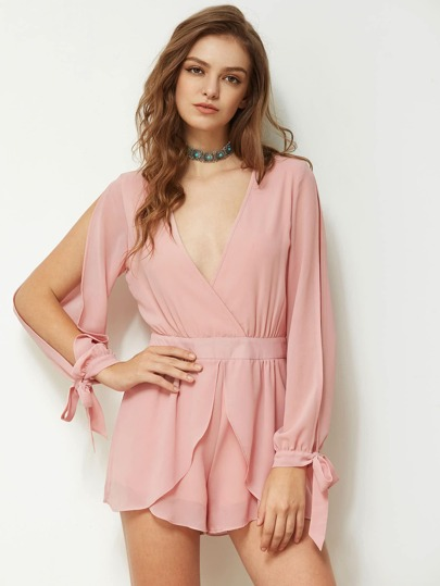 Plunge Split Sleeve Bow Tie Cuff Playsuit