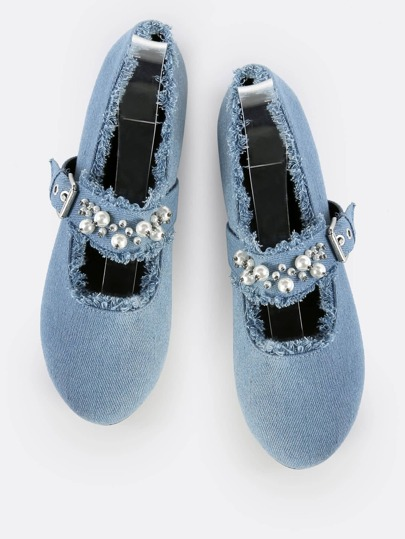 Denim Pearl Flats DENIM BLUE