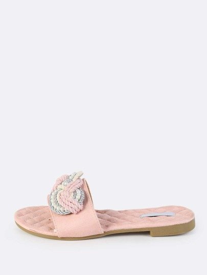 Quilted Pearl Thread Slip On Sandals BLUSH