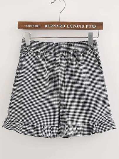 Shorts fruncido de cuadrados de cintura elástica
