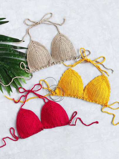 Random Color Crochet Triangle Bikini Top 1pc
