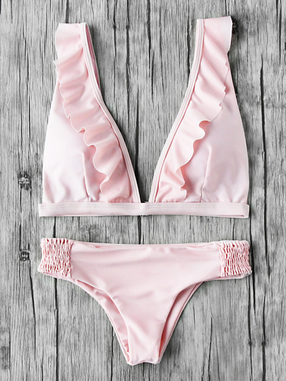 Set di bikini con scollo profondo e elastico in vita
