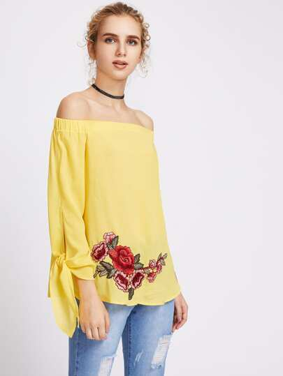 Elastic Neckline Tie Sleeve Embroidered Rose Applique Top