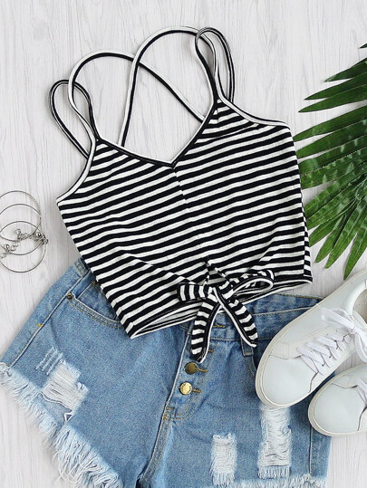 Striped Knot Front Criss Cross Cami Top