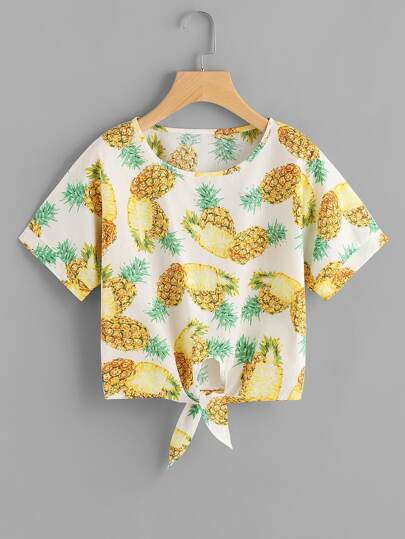 Pineapple Print Tie Hem Top