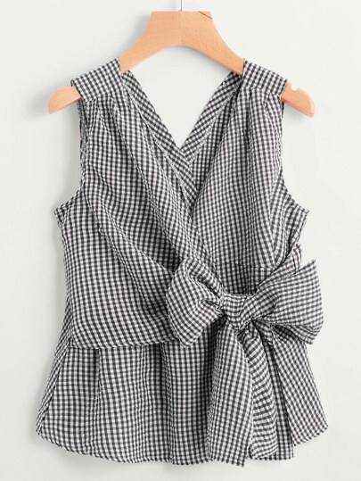 V-Neckline Bow Tie Detail Gingham Top