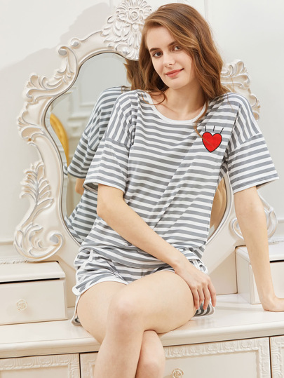 Heart Print Striped Tee With Shorts Pajama Set