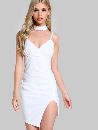 Spaghetti Strap Choker Bodycon Dress WHITE