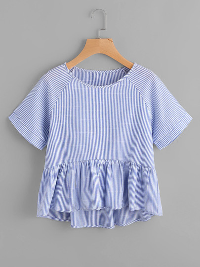 Vertical Striped Raglan Sleeve Smock Blouse