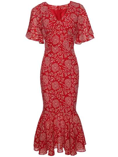 V Neck Ruffle Sleeve Fishtail Print Dress