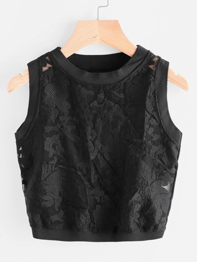 Embroidered Organza Panel Crop Tank Top